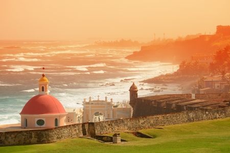 juan: Old San Juan ocean view with buildings in red tone