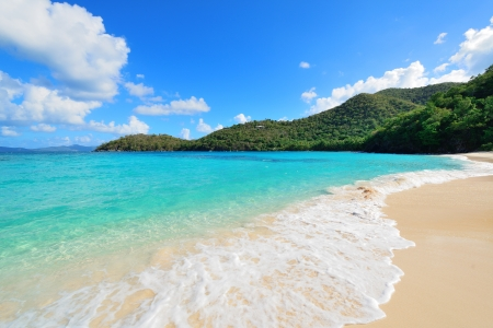 panoramic beach: Colorful beach in St John, Virgin Island