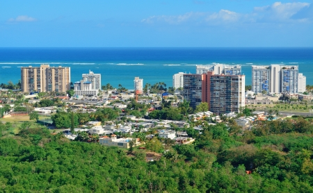 San Juan aerial view with blue sky and sea. Puerto Rico. photo