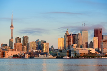 Toronto sunrise with sunlight reflection over lake in the morning Stock Photo - 18608203