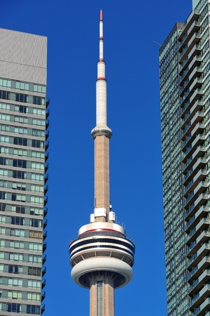 TORONTO, CANADA - JULY 2: CN Tower closeup on July 2, 2012 in Toronto. Buit in 1976 as the unique landmark of Toronto, it was world's tallest tower for 34 years Stock Photo - 18612977