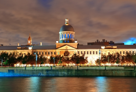 montreal: Bonsecours Market at sunset on street in Old Montreal in Canada