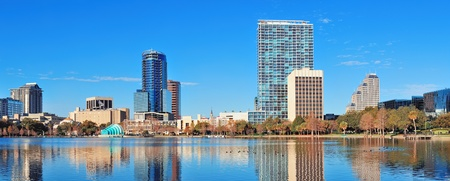 Orlando Lake Eola in the morning with urban skyscrapers and clear blue sky Stock Photo - 18609427