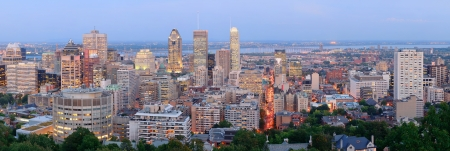 Montreal at dusk panorama with urban skyscrapers viewed from Mont Royal