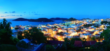 virgin islands: Virgin Islands St Thomas mountain panorama view in early morning with buildings and beach coastline