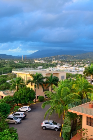 san juan: Vacation resort over mountain with beautiful color in the morning in San Juan, Puerto Rico.