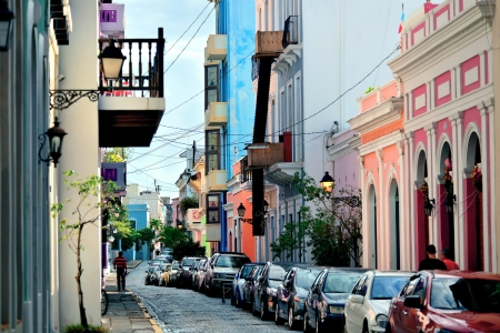juan: Old San Juan downtown street with stores and buildings