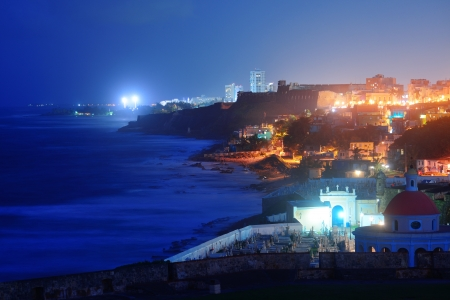 san juan: Old San Juan ocean view at night with buildings