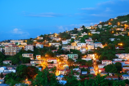 Virgin Islands St Thomas mountain view in early morning with buildings.  photo