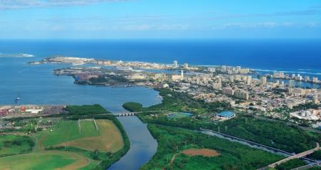san juan: San Juan aerial view with blue sky and sea. Puerto Rico.