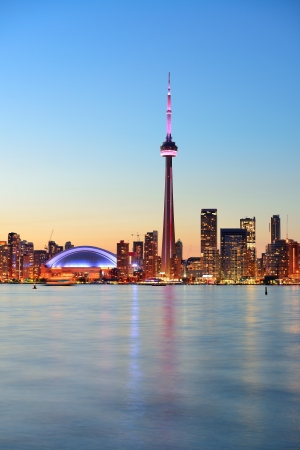 Toronto sunset over lake panorama with urban skyline. Stock Photo - 20109179
