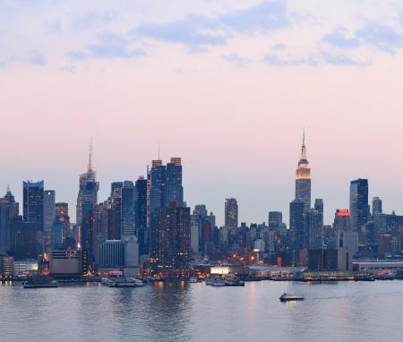 New York City Manhattan skyline tramonto vista panoramica sul fiume Hudson Archivio Fotografico - 20108496