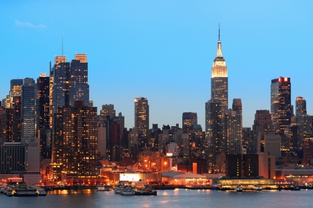 New York City midtown Manhattan in the evening with skyline panorama view over Hudson River photo