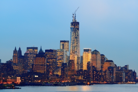 world trade center: New York City downtown Manhattan at sunset with skyline panorama view over Hudson River