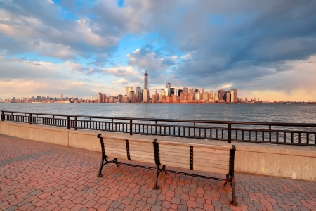 Downtown Manhattan skyline at sunset over Hudson River in New York City Stock Photo - 20108808