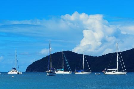 st john: Sailing boat rest at bay in St John, Virgin Islands.