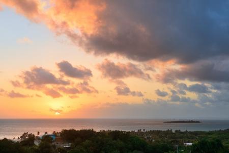 san juan: San Juan sunrise with colorful cloud and beach coastline.