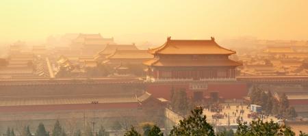 Sunrise mit historischer Architektur in Verbotenen Stadt in Peking, China. Standard-Bild