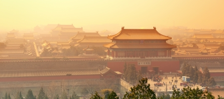 forbidden city: Sunrise with historical architecture in Forbidden City in Beijing, China.