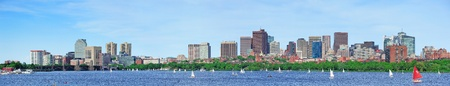 boston cityscape: Boston Charles River panorama with urban skyline skyscrapers and sailing boat. Stock Photo