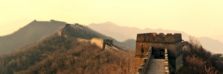 Great Wall panorama in the morning with sunrise and colorful sky in Beijing, China. photo