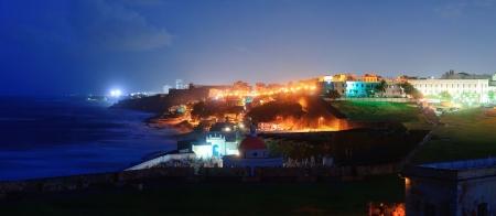 san juan: Old San Juan ocean view at dusk with buildings Stock Photo