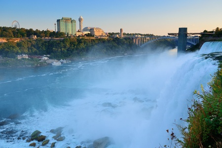 Niagara Falls sunrise in the morning closeup photo