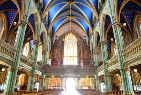 designated: Ottawa, CANADA - SEP 8: Notre-Dame Cathedral Basilica interior on September 8, 2012 in Ottawa, Canada. It is the oldest and largest church in Ottawa and was designated a National Historic Site of Canada in 1990