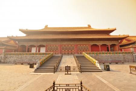 Sunrise mit historischer Architektur in Verbotenen Stadt in Peking, China. Editorial