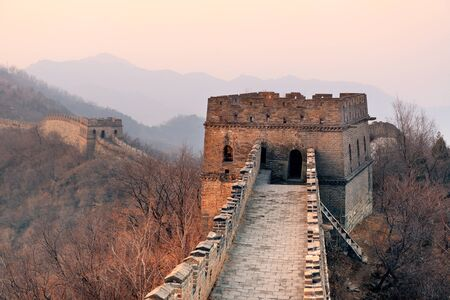 greatwall: Great Wall closeup in the morning with sunrise and colorful sky in Beijing, China.