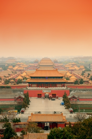 Aerial view of Imperial Palace in Beijing in red tone, China. Редакционное