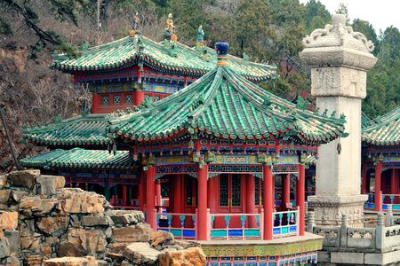 summer palace: Ancient architecture closeup in Beijing. Editorial