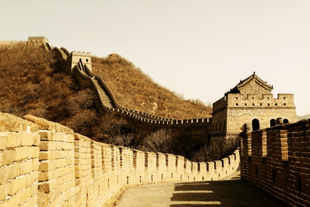 Great Wall in old yellow tone in Beijing, China photo