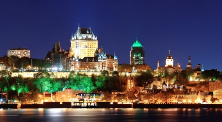 Quebec City skyline panorama at dusk over river viewed from Levis. Reklamní fotografie