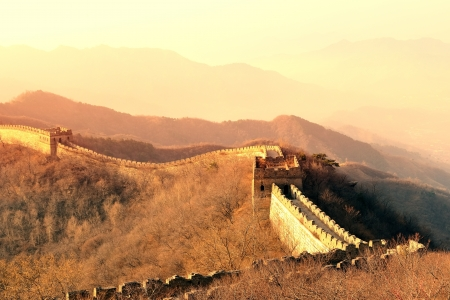 great wall: Great Wall in the morning with sunrise and colorful sky in Beijing, China.