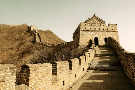 great wall: Great Wall in old yellow tone in Beijing, China