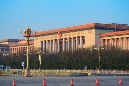 great hall: BEIJING, CHINA - APR 6: Great Hall of the People in the morning on April 6, 2013 in Beijing, China. It serves as the meeting place of the National Peoples Congress, the Chinese parliament.