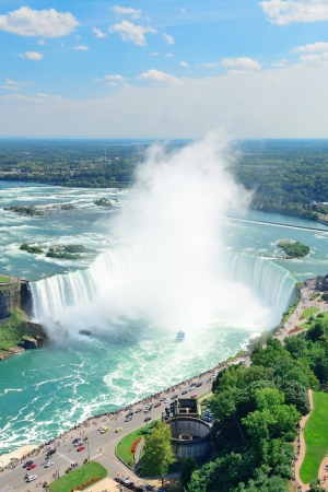 Horseshoe Falls aerial view in the day with mist from Niagara Falls Stock Photo