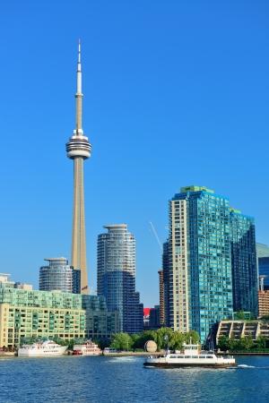 Toronto skyline panorama over lake with urban architecture. photo