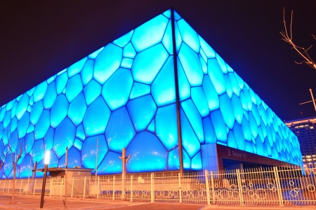 established: BEIJING, CHINA - APR 7: Beijing National Aquatics Center at night on April 7, 2013 in Beijing, China. The center was established for the 2008 Summer Olympics and Paralympics. Editorial
