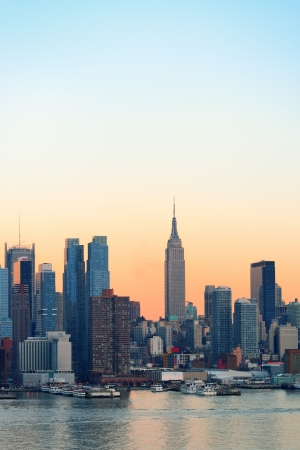 old times: New York City midtown Manhattan sunset skyline panorama view over Hudson River