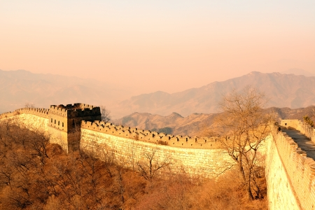 Great Wall in the morning with sunrise and colorful sky in Beijing, China. photo