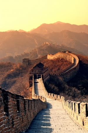 greatwall: Great Wall in the morning with sunrise and colorful sky in Beijing, China.