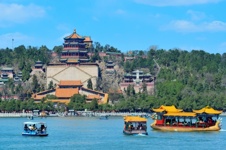 summer palace: Summer Palace with historical architecture, lake and boat in Beijing. Stock Photo