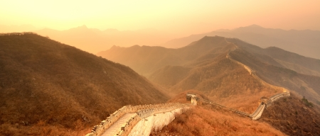Great Wall in the morning with sunrise and colorful sky in Beijing, China.