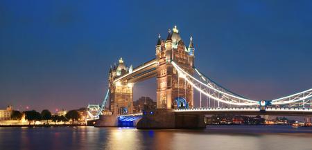 Tower Bridge in London as the famous landmark at dusk. Stock Photo