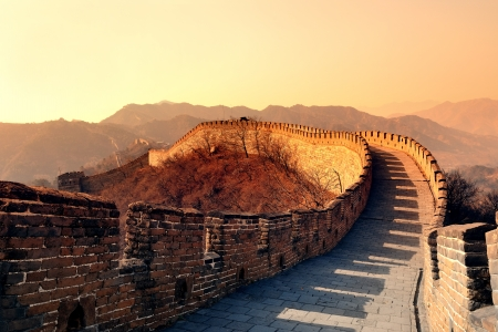 great wall of china: Great Wall in the morning with sunrise and colorful sky in Beijing, China.