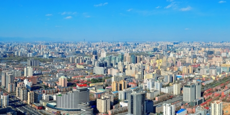 Beijing city aerial view with urban buildings  photo