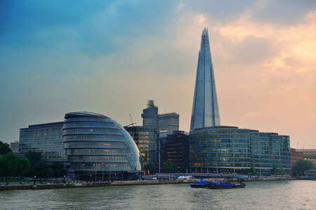 iconic: Urban architecture over Thames River in London.