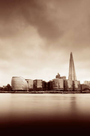 thames: Urban architecture over Thames River in London in black and white.